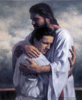 Jesus is huging a man in heaven
